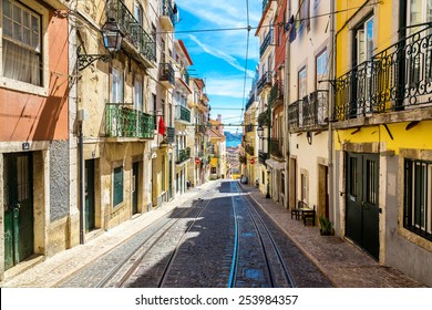 Old Lisbon street in a beautiful summer day