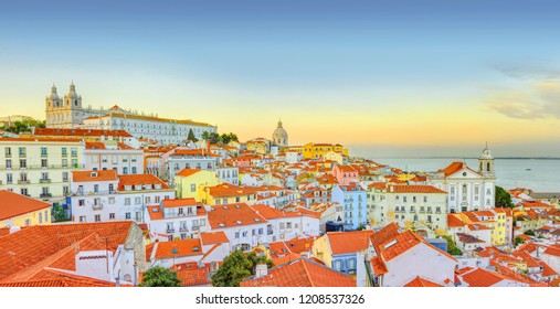 Old Lisbon town panoramic view at sunset. Portugal.