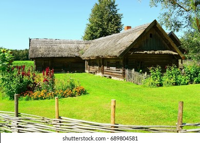 Old lithuanian wooden house in Rumsiskes town, Lithuania.