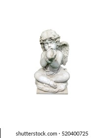 Old little angel blowing conch statue isolate