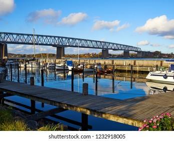 Old Little Belt Bridge and small town of Middelfart Denmark Scandinavia travel destination