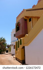 Old living house facade of traditional Arab architecture in Dahab, Sinai.