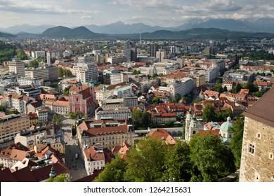 Old Ljubljana capital city of Slovenia with the Karawanks, Mount Saint Mary, and Kamnik Savinja limestone Alps from the hilltop Ljubljana Castle
