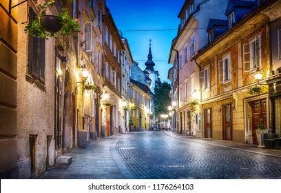 Old Ljubljana cityscape cobbled street evening view. Ljubljana capital of Slovenia.