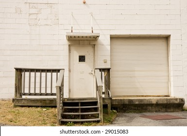 An old loading dock with wooden steps