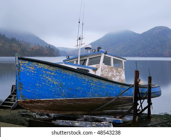 An Old Lobster Boat, Beached And Waiting For A New Coat Of Paint, Acadia National Park, Maine, Photo Composite