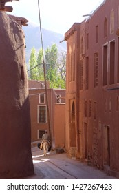 An old local Iranian man riding a donkey through the reddish hue homes in Abyaneh Village, one of the oldest villages in Iran.