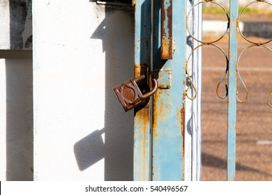 Old lock on the door.  close-up. focus on lock