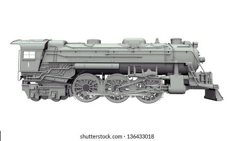 Old Locomotive Computer generated 3D illustration