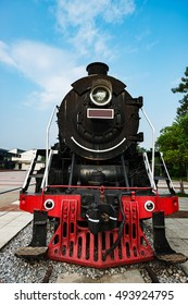 The old locomotive in the exhibition