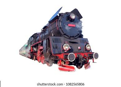 Old locomotive isolated on white background