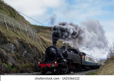 The old locomotive produces a pillar of steam.
