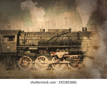 old locomotive with steam. Image in old color style