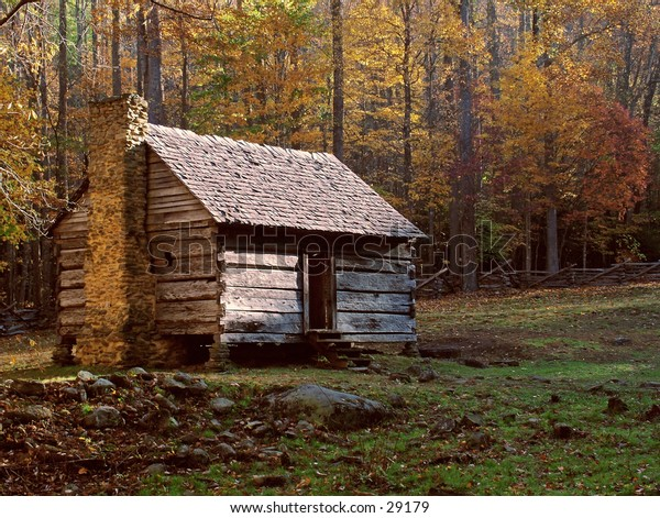 Old Log Cabin In Great Smokie Mountains National Park.