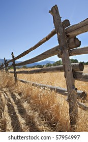 An old log fence in a field in the western United States, in the late afternoon sun.