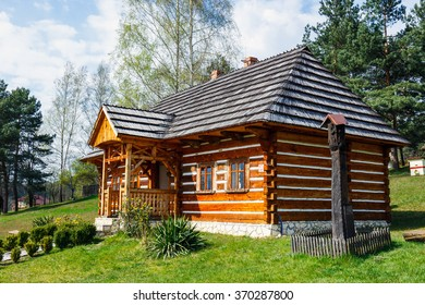 Old log house in an open-air ethnography museum in Wygielzow, Poland
