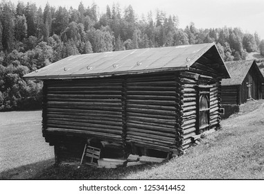 Old log huts for animal shelters in the Swiss Alps, with analogue photgraphy - 1