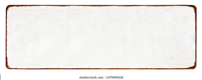 Old, long, grunge blank enameled plate mockup or mock up template, isolated on white background including clipping path