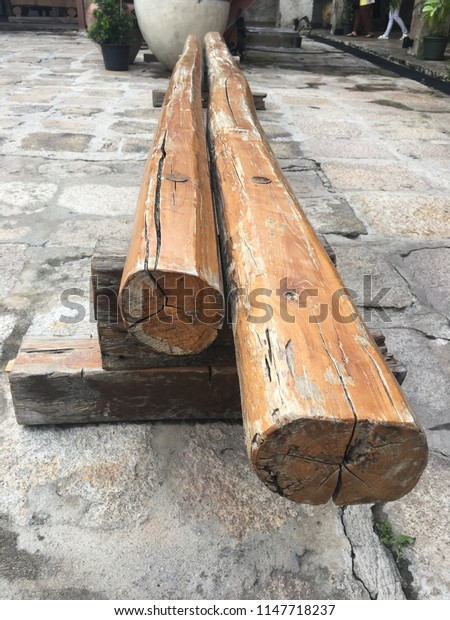 Old long wooden bench