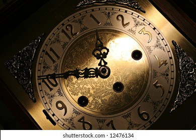 Old looking grandfather clock face