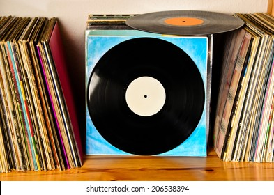 old lps on the shelf to be played back
