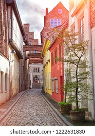Old Lubeck street view. Small trees growing in pots.