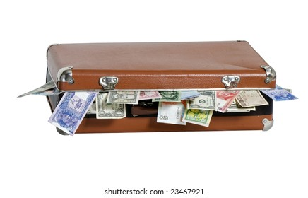 Old luggage full of paper money from all the world