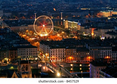 old Lyon at night viewed from the fourvieres hill