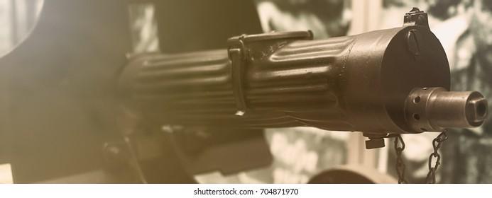 Old machine Gun. Maxim gun. First World War Machine gun.