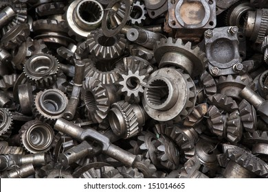 Old machine parts in second hand machinery shop in Bangkok,Thailand