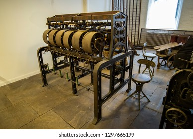 Old machinery from a cotton mill in an industrial Victorian factory