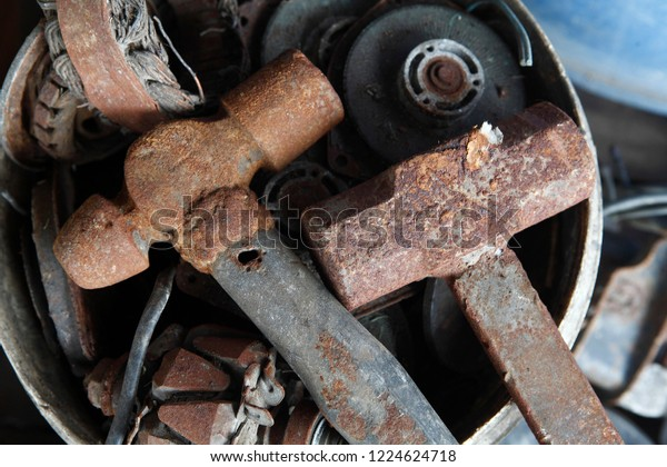 Old Machinery Parts Used Industrial Parts Stock Photo (Edit