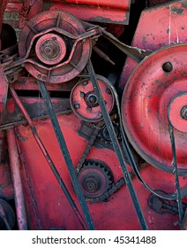 Old machinery pulleys