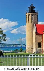 Old Mackinac Point Lighthouse - Mackinaw City, Michigan Mackinac Bridge in the background