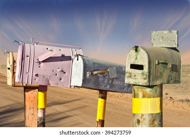 Old Mailboxes on Rural Route in Arizona