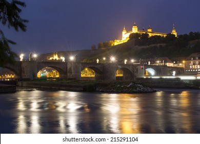 old main bridge in Wuerzburg germany at night