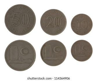 Old Malaysian sen coins isolated on white