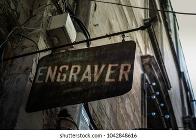 Old Maltese engraver shop in downtown Valletta