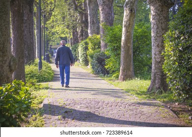 An old man, in blue, walks through the park on the path