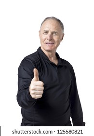 Old man doing a thumb up isolated in a white background