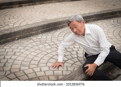 old man falling down, senior accident