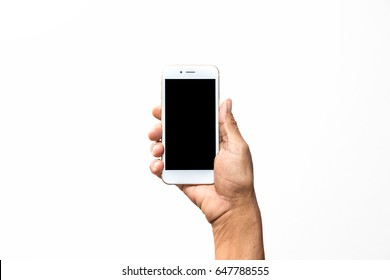 Old man hand holding white smartphone on white background