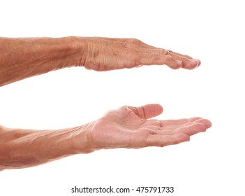 Old man hands on a white background