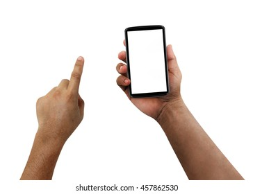 Old Man hands using mobile phone with white screen, isolated,