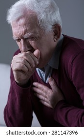 Old man has opressive cough