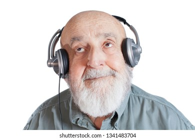 old man with headphones isolated on white background