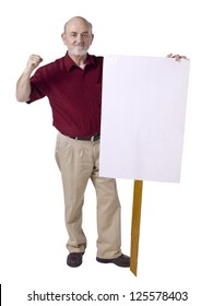 Old man holding a white banner with close fist, protest concept