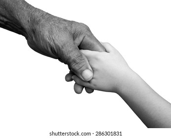 old man and a kid holding hands together on white background , black and white , B&W