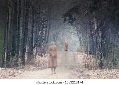 Old man leaves the road among the trees - collage. Alzheimer's disease and withdrawal from life. Senile dementia and memory loss. Depressive state at retirement age. Problems of the older generation.