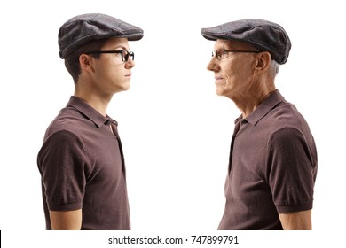Old man looking at his younger self isolated on white background